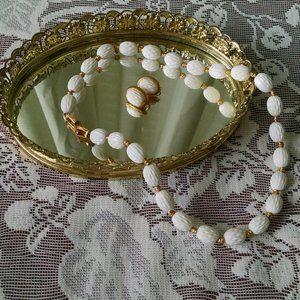 Monet White & Gold Beaded Necklace & Earrings Set